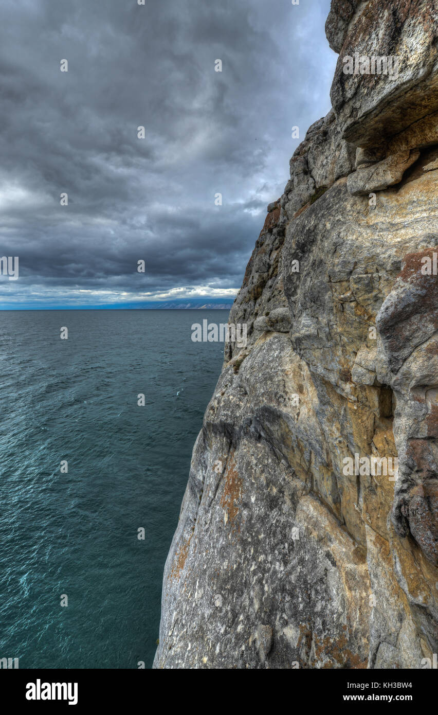 Landscape of Cape Khoboy, Olkhon Island, Baikal, Siberia, Russia on a cloudy, stormy, day. - Stock Image