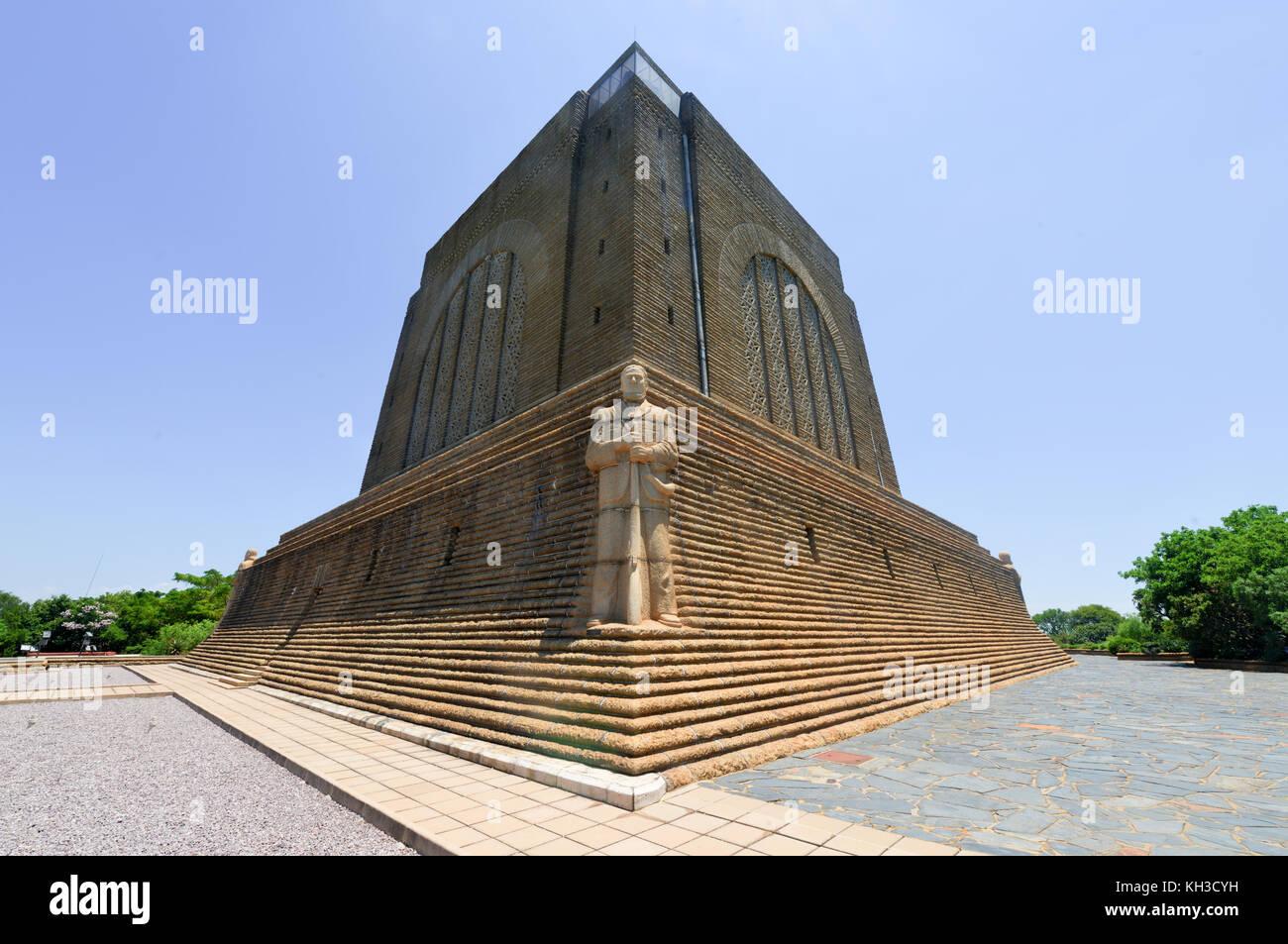 Monument to Afrikaner Leader at Voortrekker Monument. The Voortrekker Monument is located just south of Pretoria - Stock Image