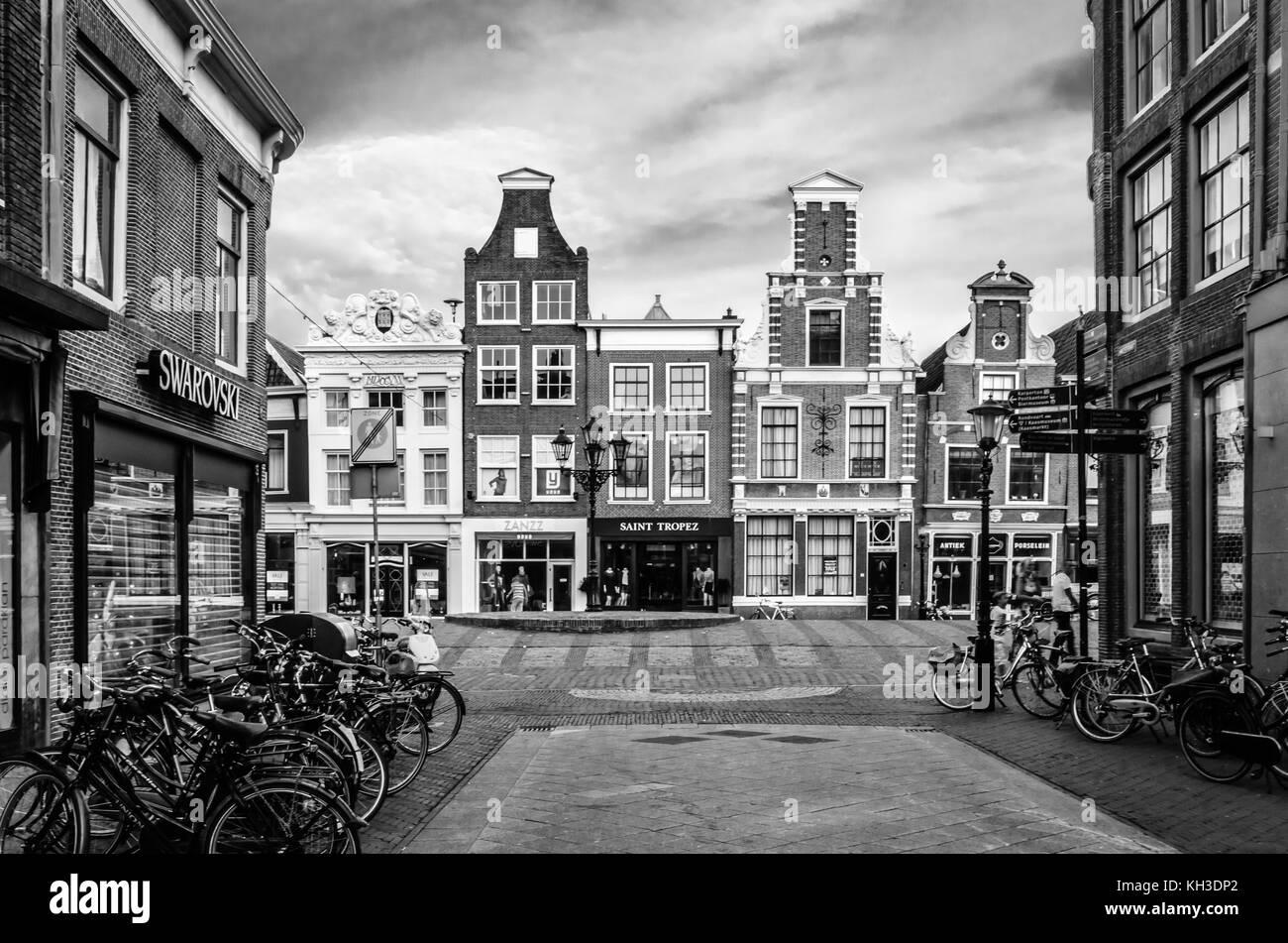 ALKMAAR, THE NETHERLANDS - AUGUST 25, 2013: Architecture in Alkmaar, the Netherlands, commercial street - Stock Image