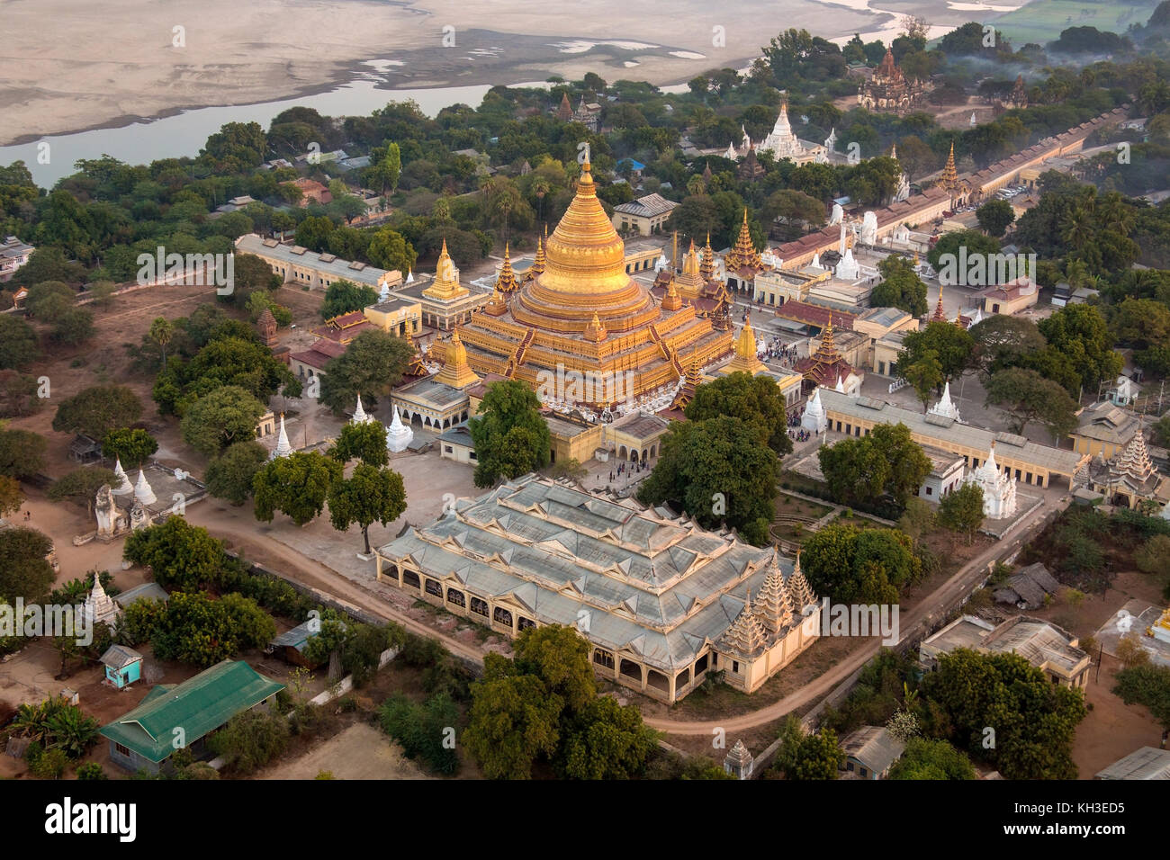 An early morning aerial view of the Shwezigon Buddhist Temple in the ancient city of Bagan in Myanmar (Burma). Stock Photo