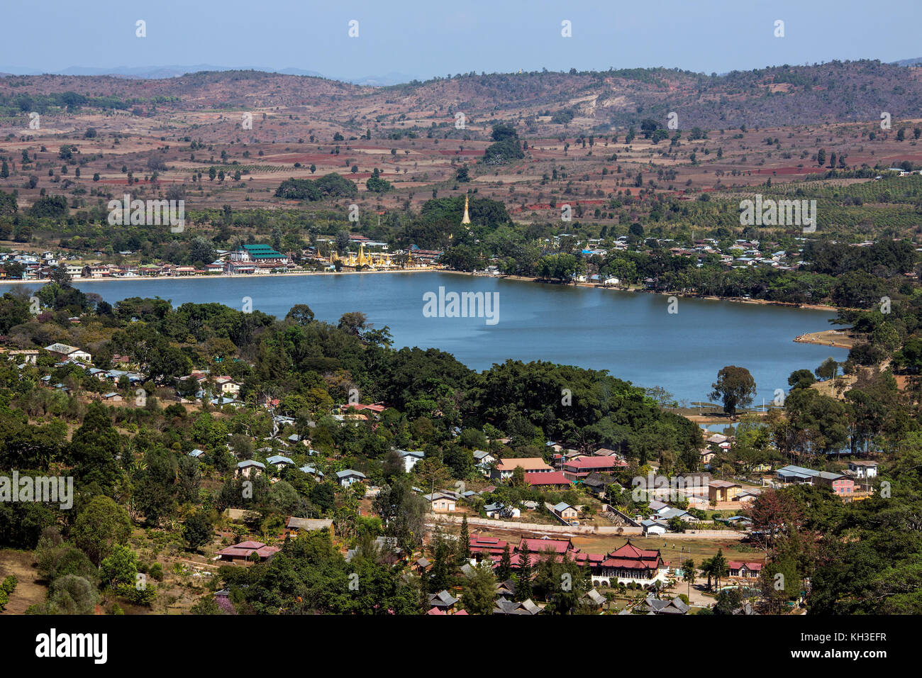 Small township of Mwedaw near Pindaya in the Taunggyi District of Shan State in central Myanmar (Burma). Stock Photo