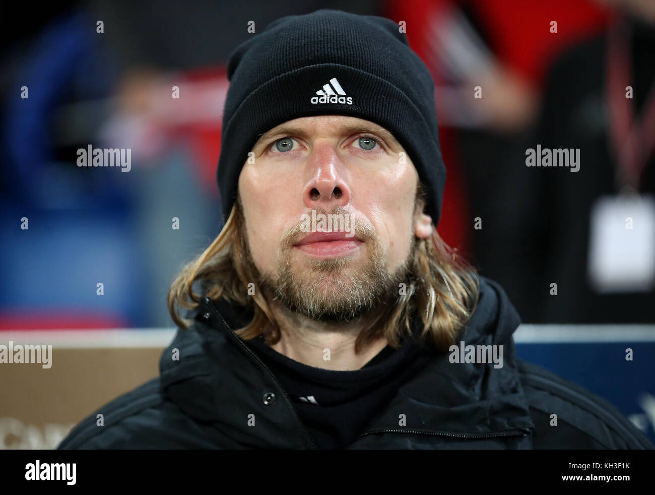 Northern Ireland assistant Austin MacPhee during the FIFA World Cup Qualifying second leg match at St Jakob Park, - Stock Image
