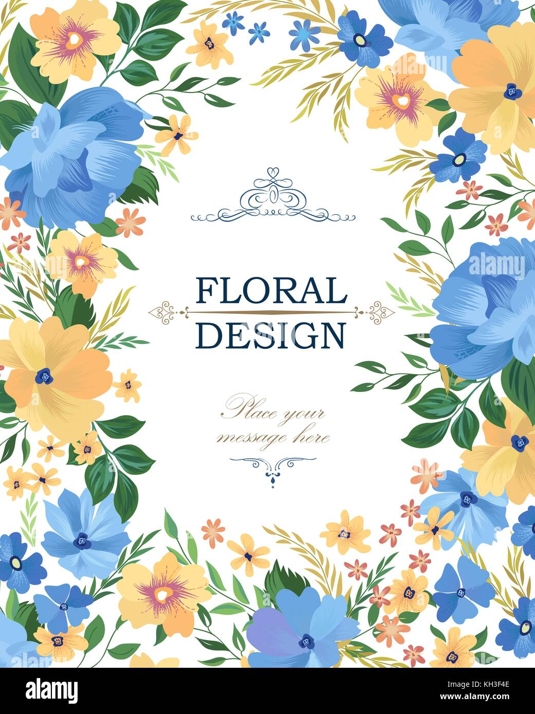 Floral Frame Pattern Flower Border Background Greeting Card Design