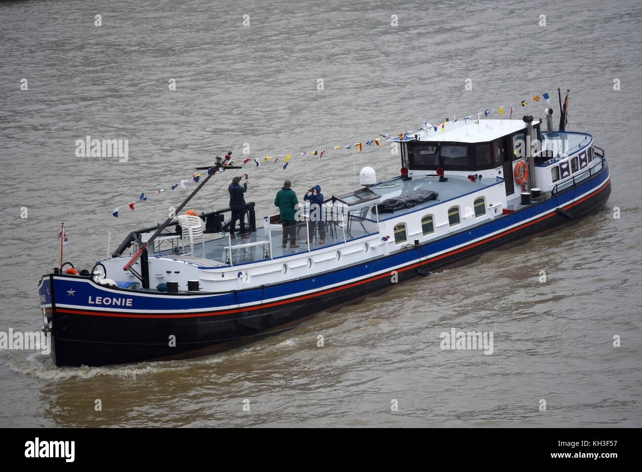 Leonie in the flotilla for the Lord Mayor's Show in London. River Thames. Space for copy - Stock Image