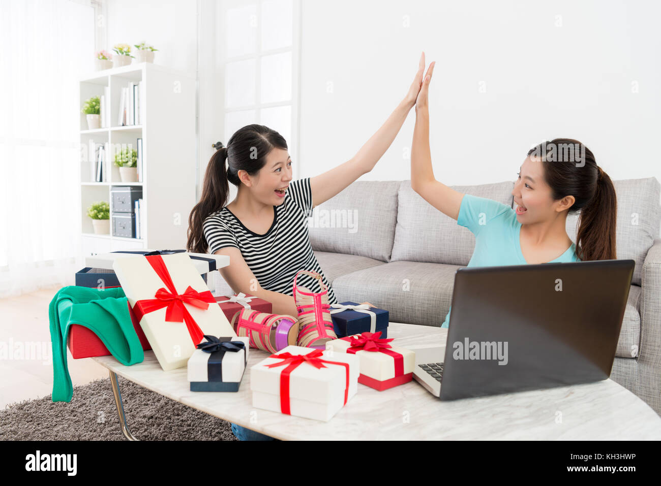 pretty happy women using computer online shopping at home and stock photo 165422370 alamy. Black Bedroom Furniture Sets. Home Design Ideas