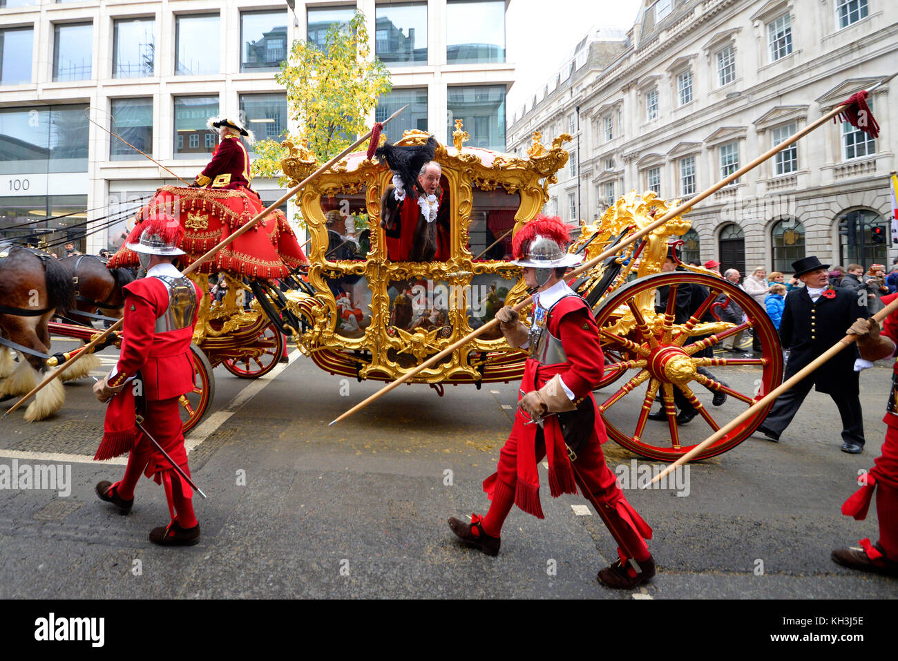 New Lord Mayor of London Charles Bowman in gold state coach at the Lord Mayor's Show Procession Parade along - Stock Image