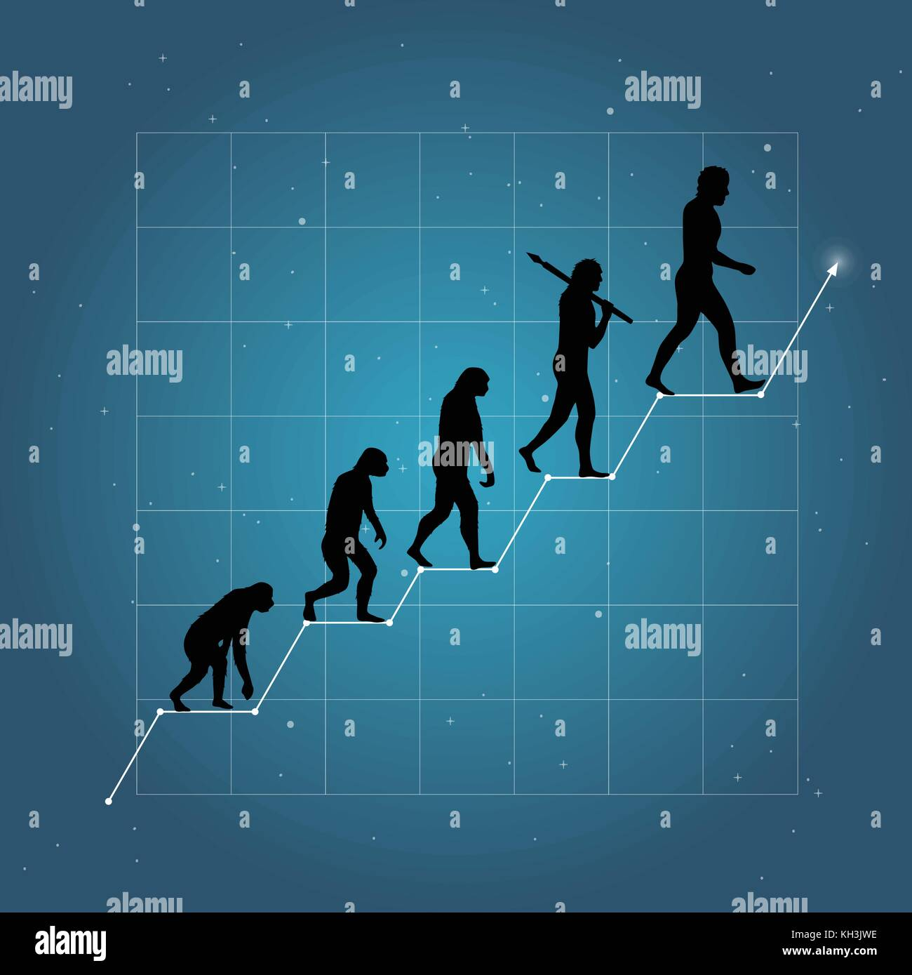 Growth of business or economy as human evolution on chart. Blue background. - Stock Image