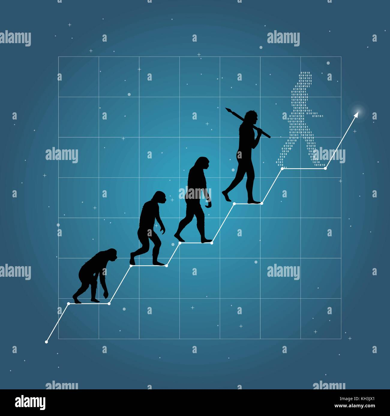Growth of business or economy as human evolution on chart. Blue background. Stock Vector
