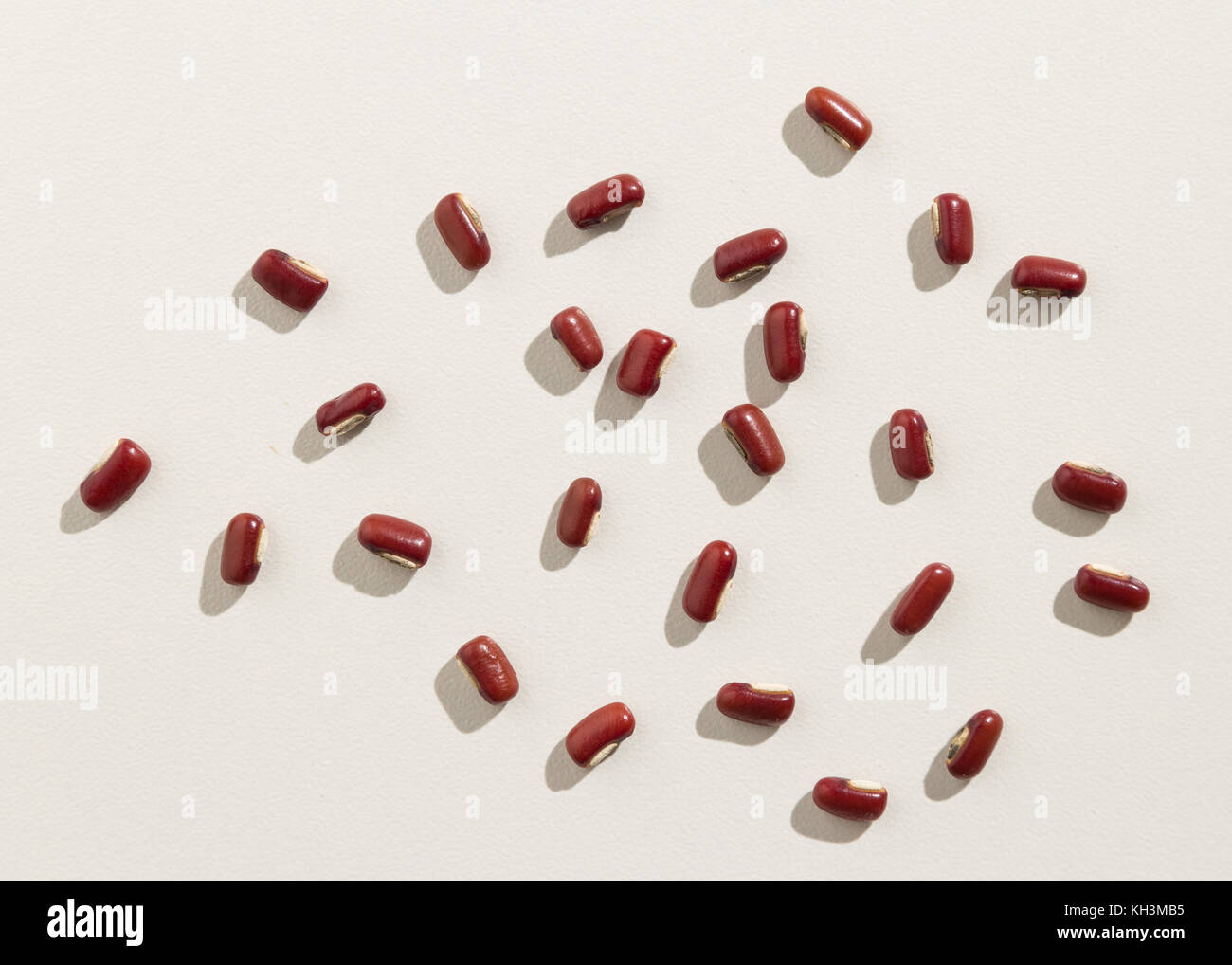 Vigna angularis is scientific name of Adzuki Bean legume. Also known as Azuki and Japanese Bean. Top view of scattered - Stock Image