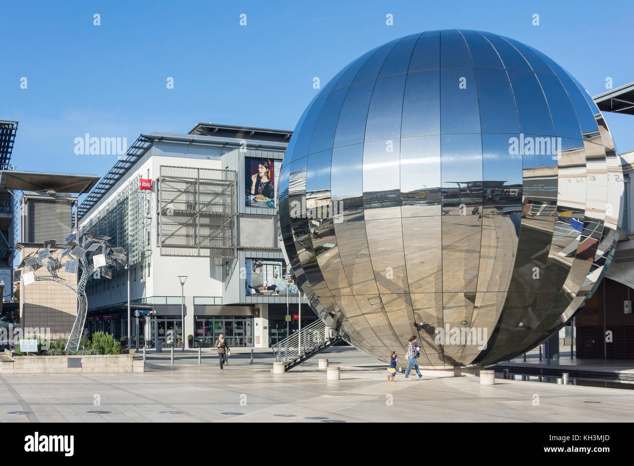 Mirror Globe in Millennium Square, Harbourside, Bristol, England, United Kingdom - Stock Image