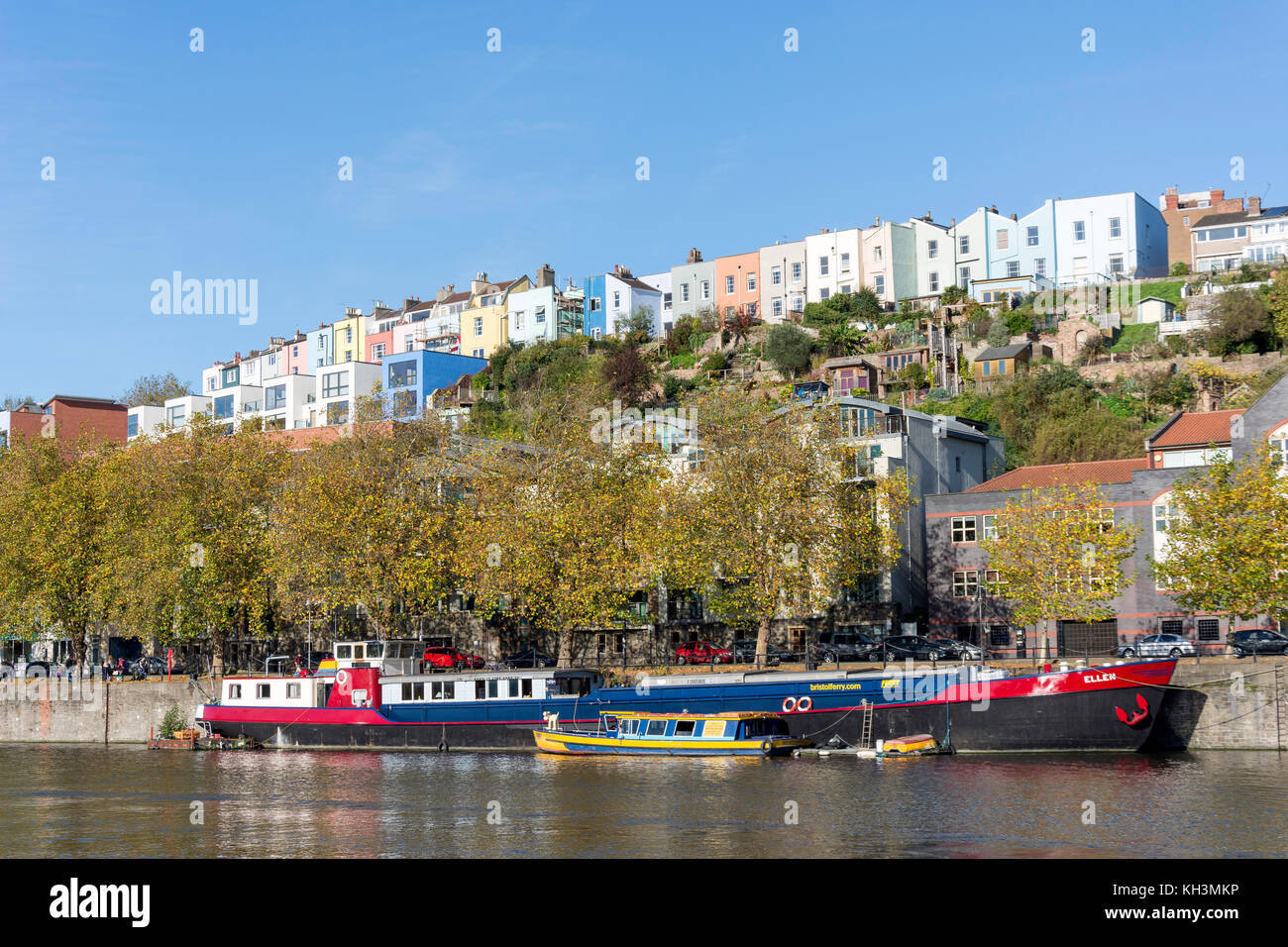 Ferry boats on riverside, Floating Harbour, Clifton Wood, Bristol, England, United Kingdom - Stock Image