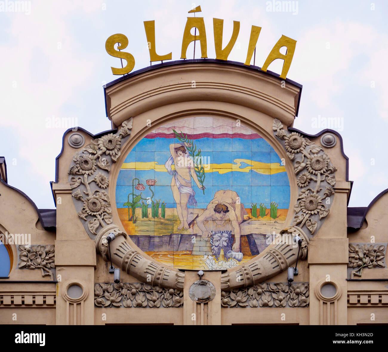 Hotel und Café Slavia, Hlavna 63 in Kosice, Kosicky kraj, Slowakei, Europa Hotel and Café Slavia, Hlavna - Stock Image