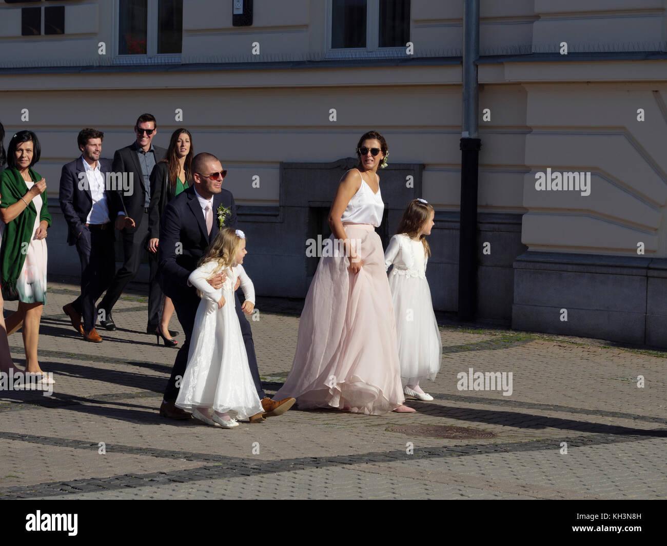 wedding at town hall at  nam. SNP in Banska Bystrica, Banskobystricky kraj, Slovakia, Europe - Stock Image