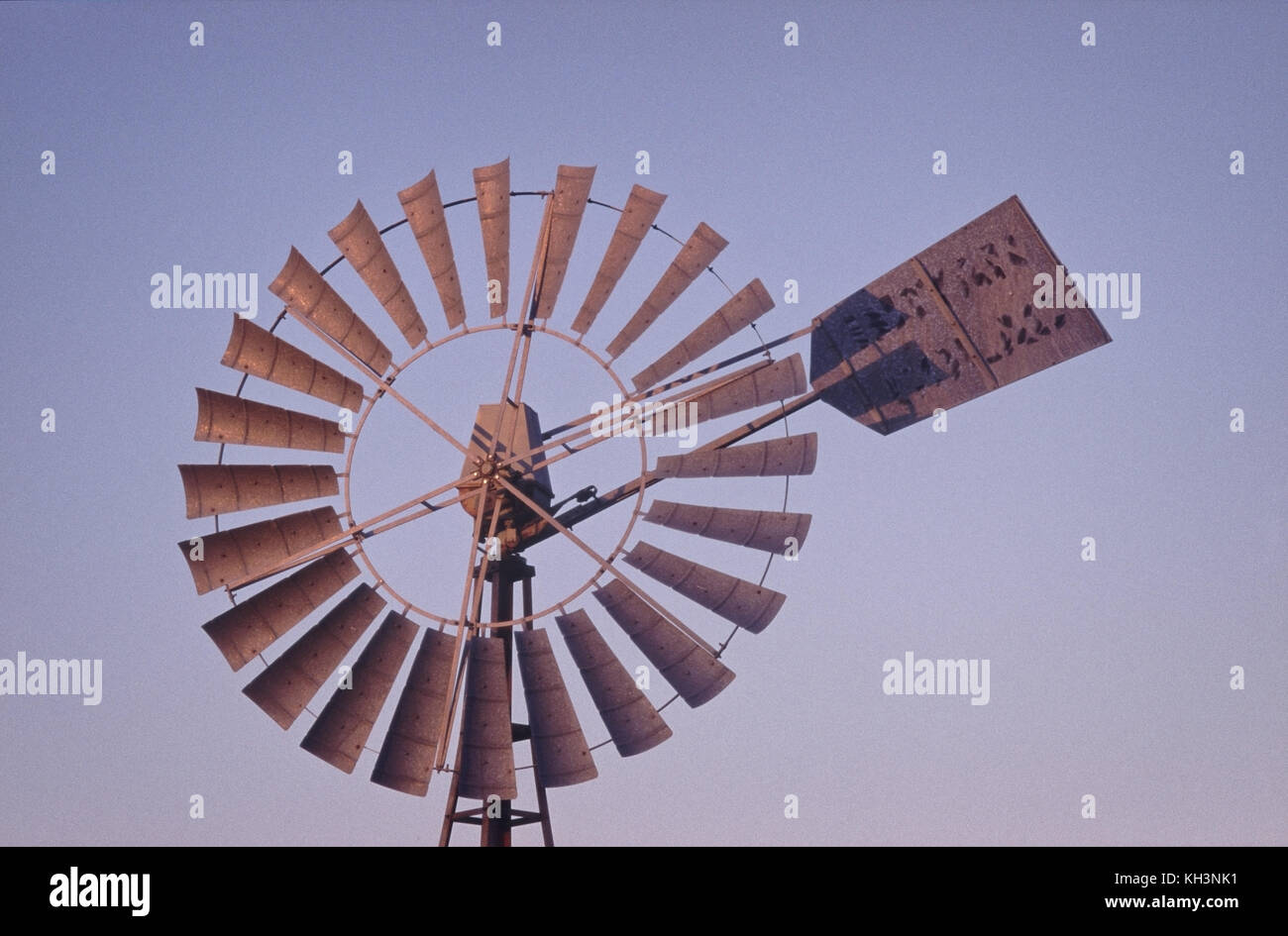 Close-up of windmill bore pump blades - Stock Image