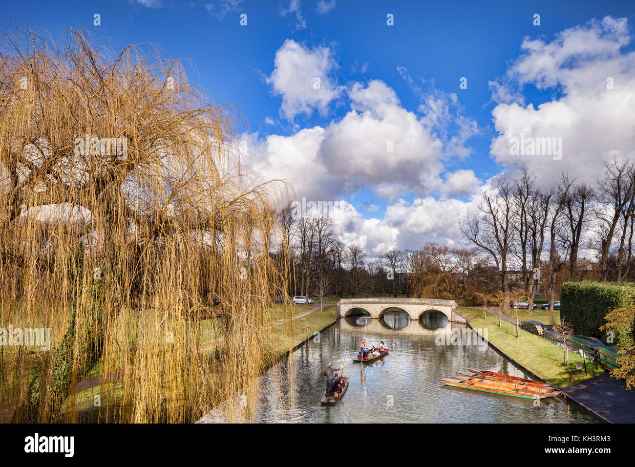 Punts on the River Cam in Cambridge through the grounds of Trinity College. - Stock Image