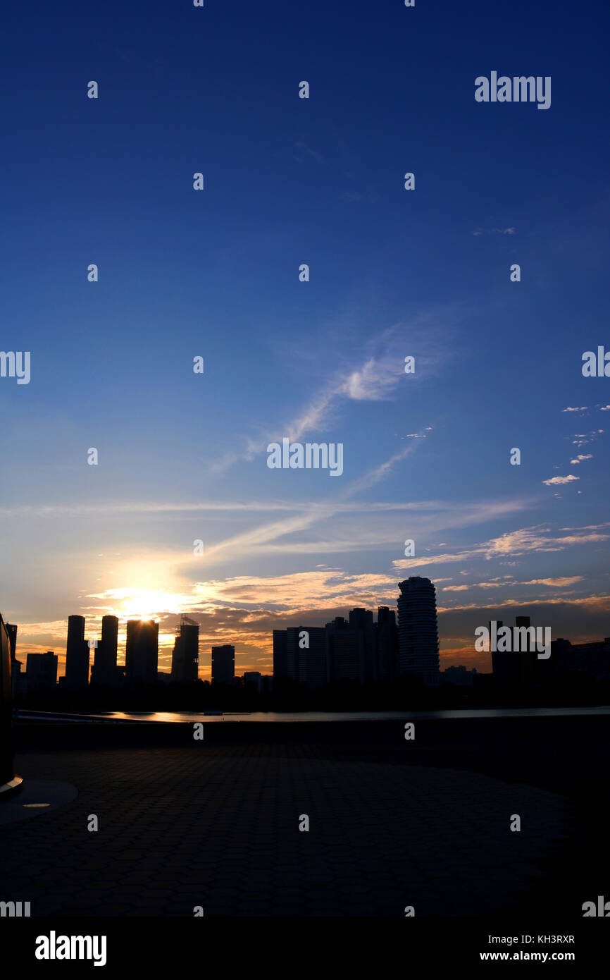 Sunset in Modern Singapore - Stock Image