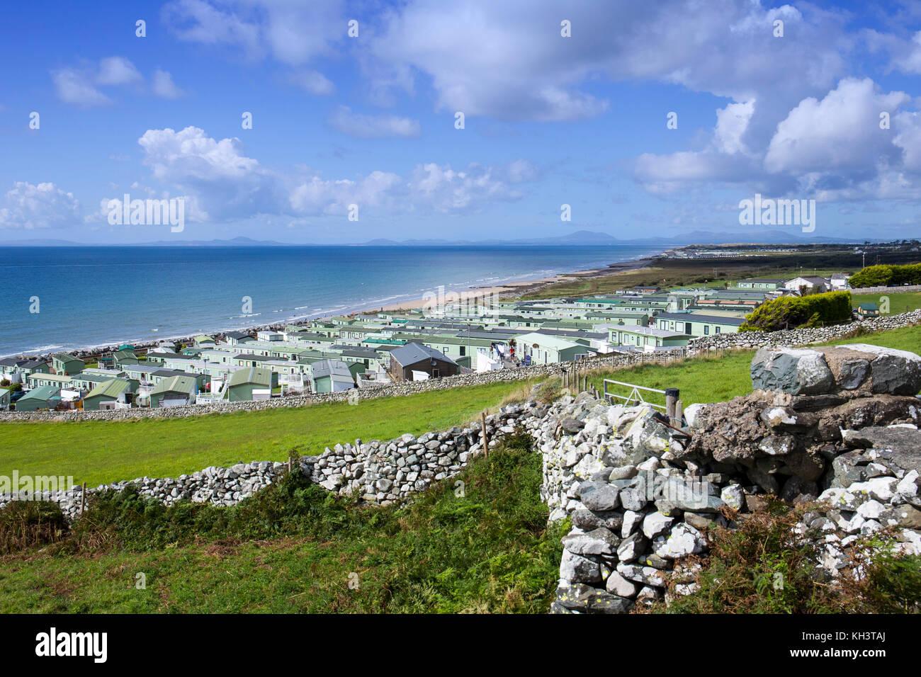 Caerddaniel Holiday Home Park, near Barmouth, overlooking Cardigan Bay in Snowdonia National Park, Wales UK - Stock Image