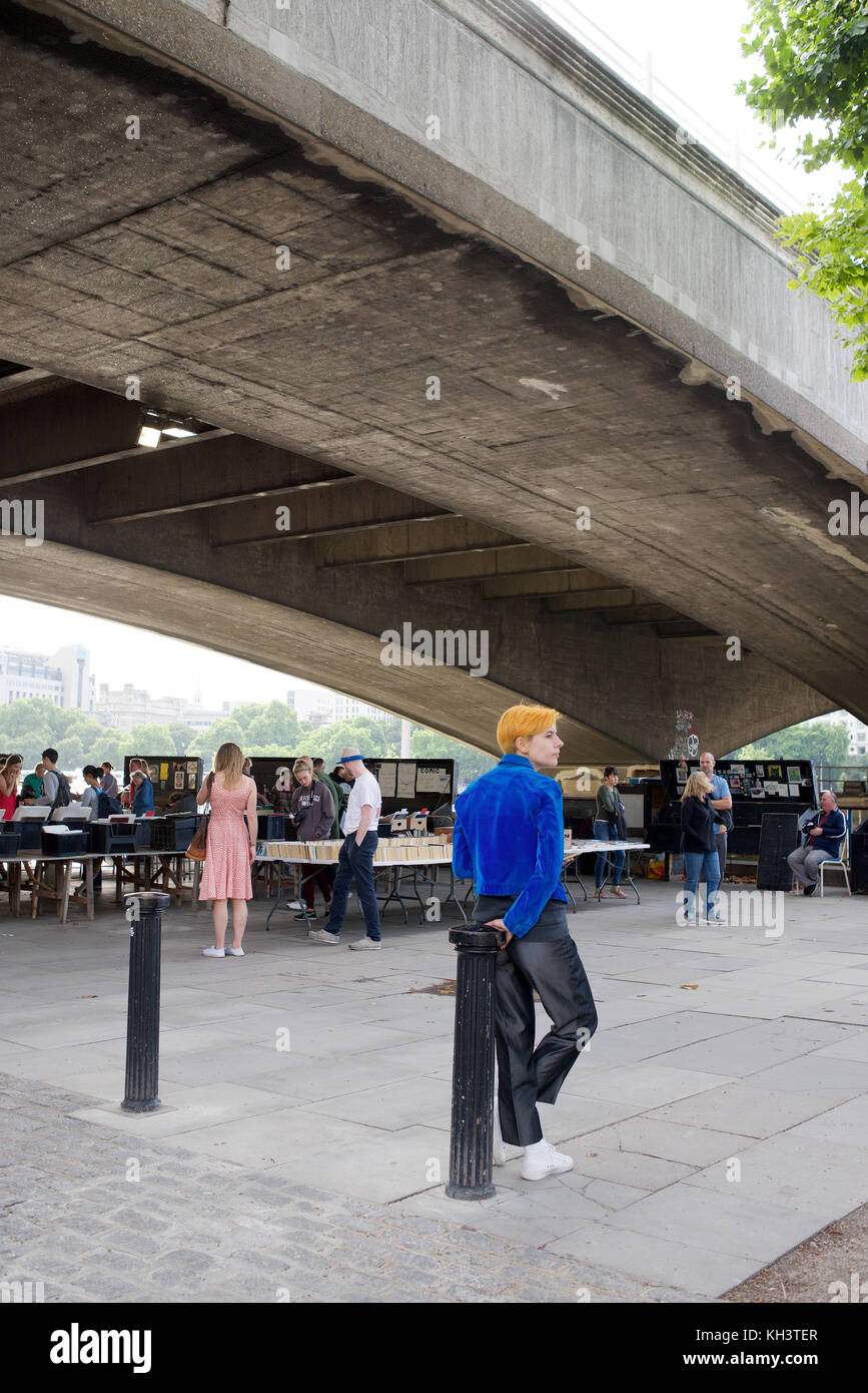 Booksellers under Waterloo Bridge in London - Stock Image