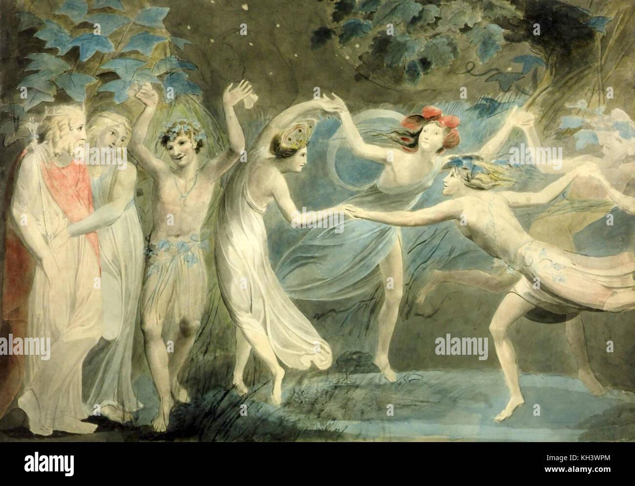 Oberon, Titania and Puck with Fairies Dancing circa 1786, William Blake - Stock Image