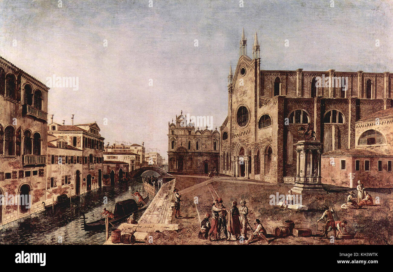 Gondolas at Santi Giovanni e Paolo in a painting by Michele Marieschi 1731 - Stock Image