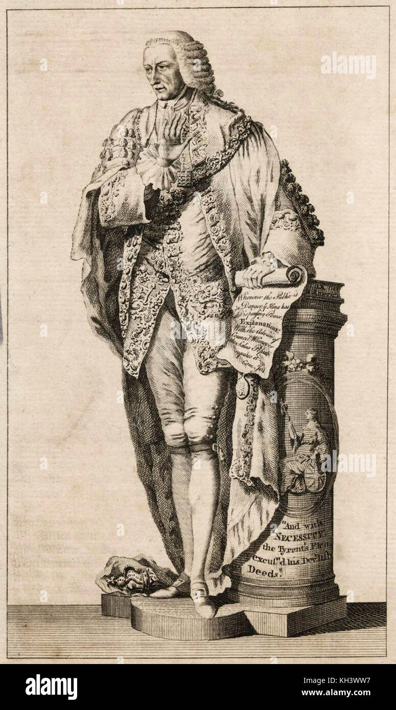 Statue of Sir William Beckford, Lord Mayor 1762 and 1769 1771 - Stock Image
