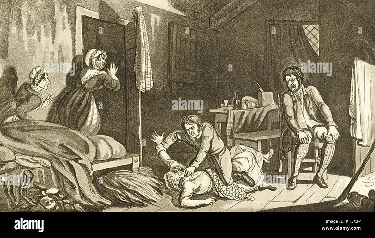 More details Idealised etching of Burke murdering Margaret Docherty (also known as Margery Campbell) by Robert Seymour - Stock Image