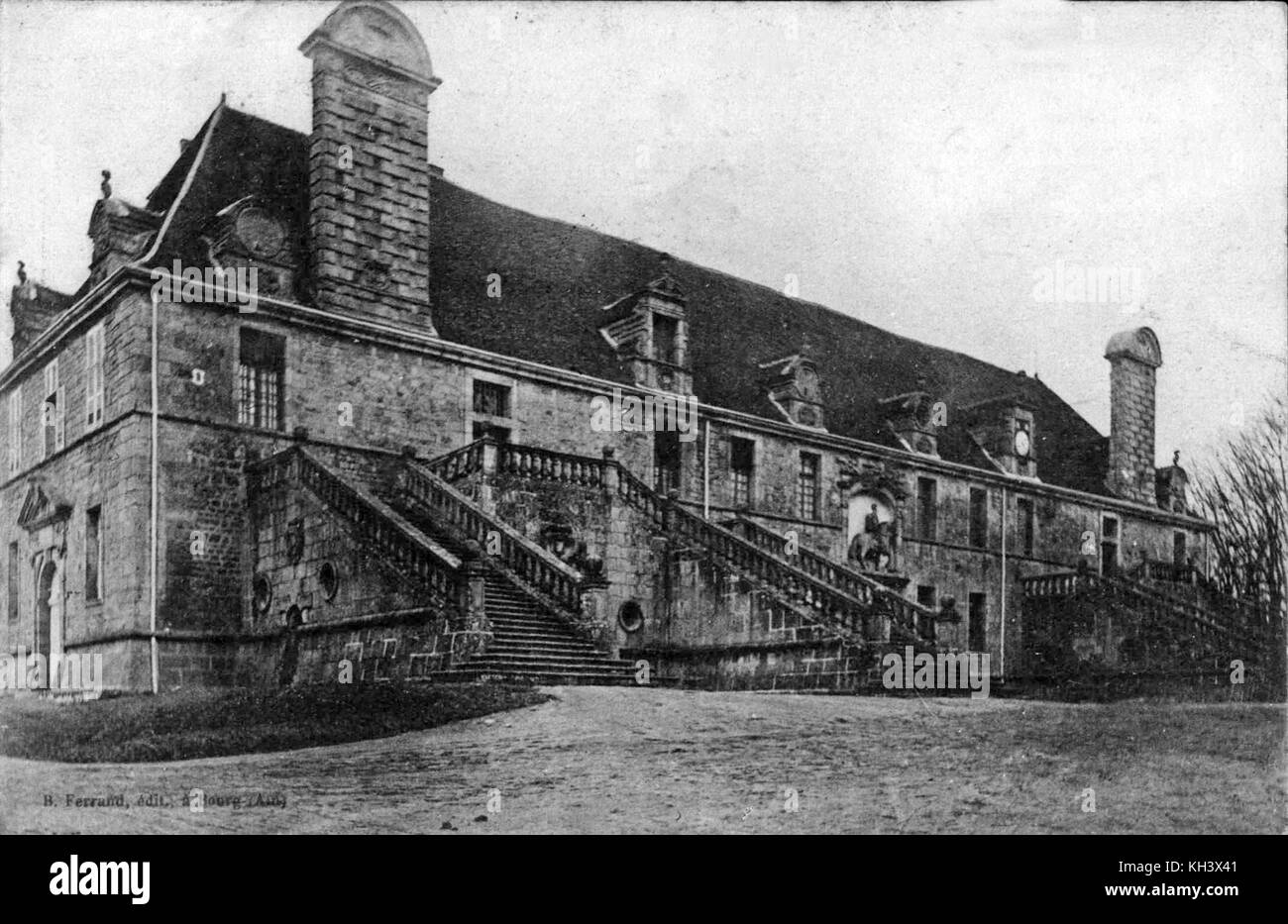 The grand stables at the Château de Chaumont-la-Guiche, southeast facade of the stables of the Château - Stock Image