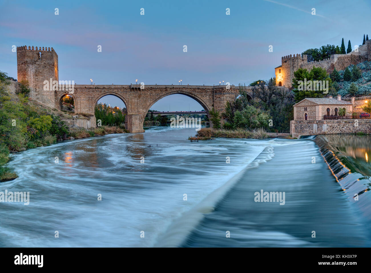 The Puente de San Martin in Toledo, Spain, at dawn - Stock Image