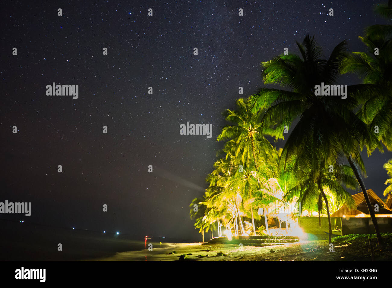 Night Sky Stars over beach with house and palm trees - Stock Image