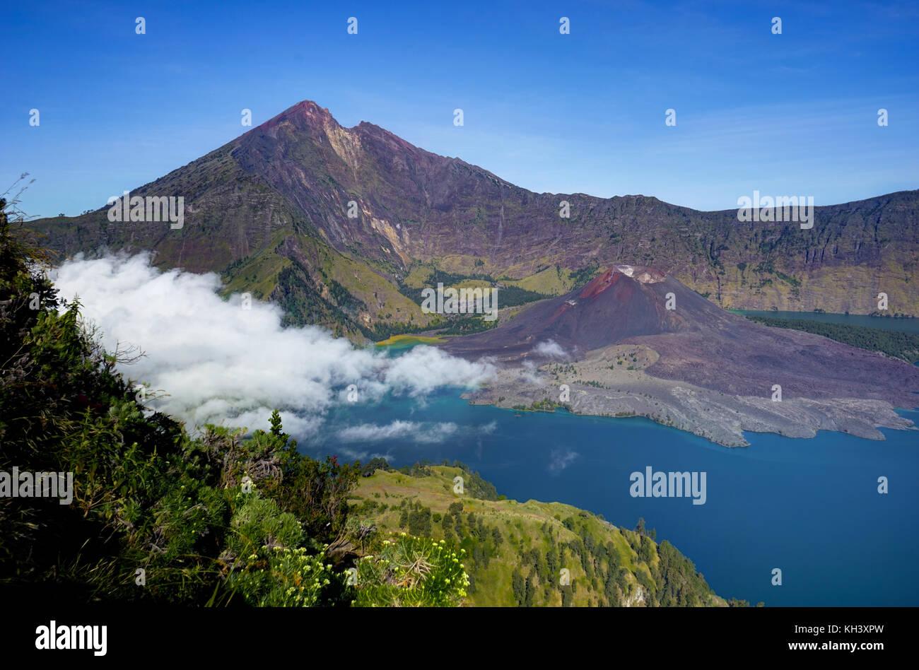 Volcano crater lake of Mount Rinjani Lombok Indonesia - Stock Image