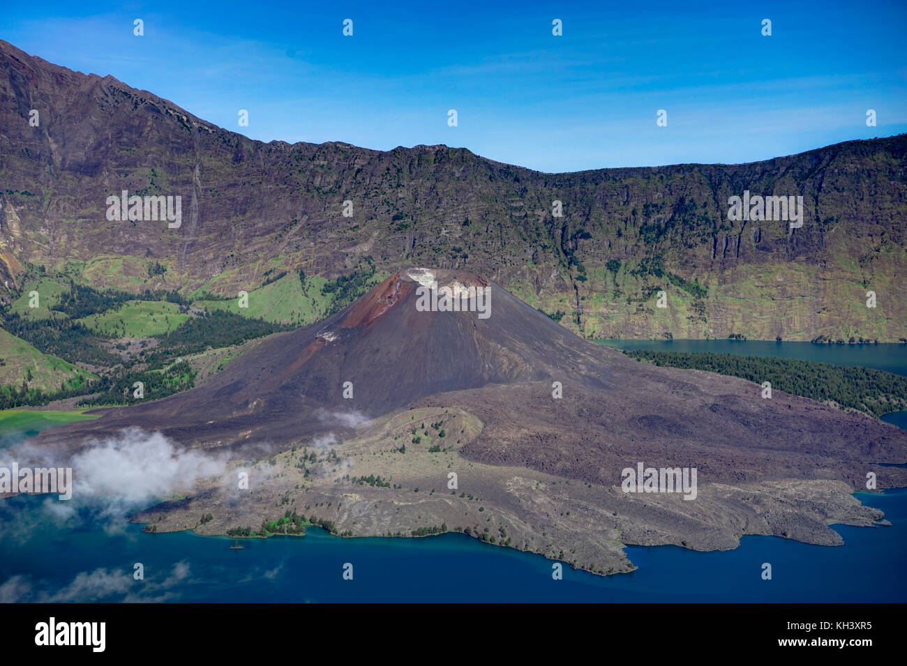 Volcano crater lake of Mount Rinjani Lombok Indonesia - Stock Image
