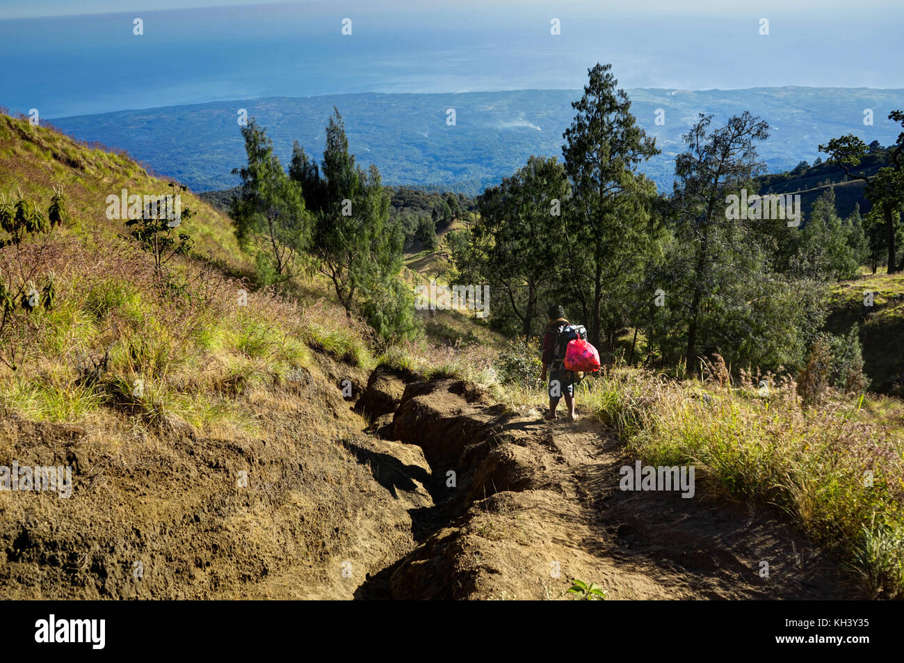 Mount Rinjani Lombok Indonesia way down - Stock Image