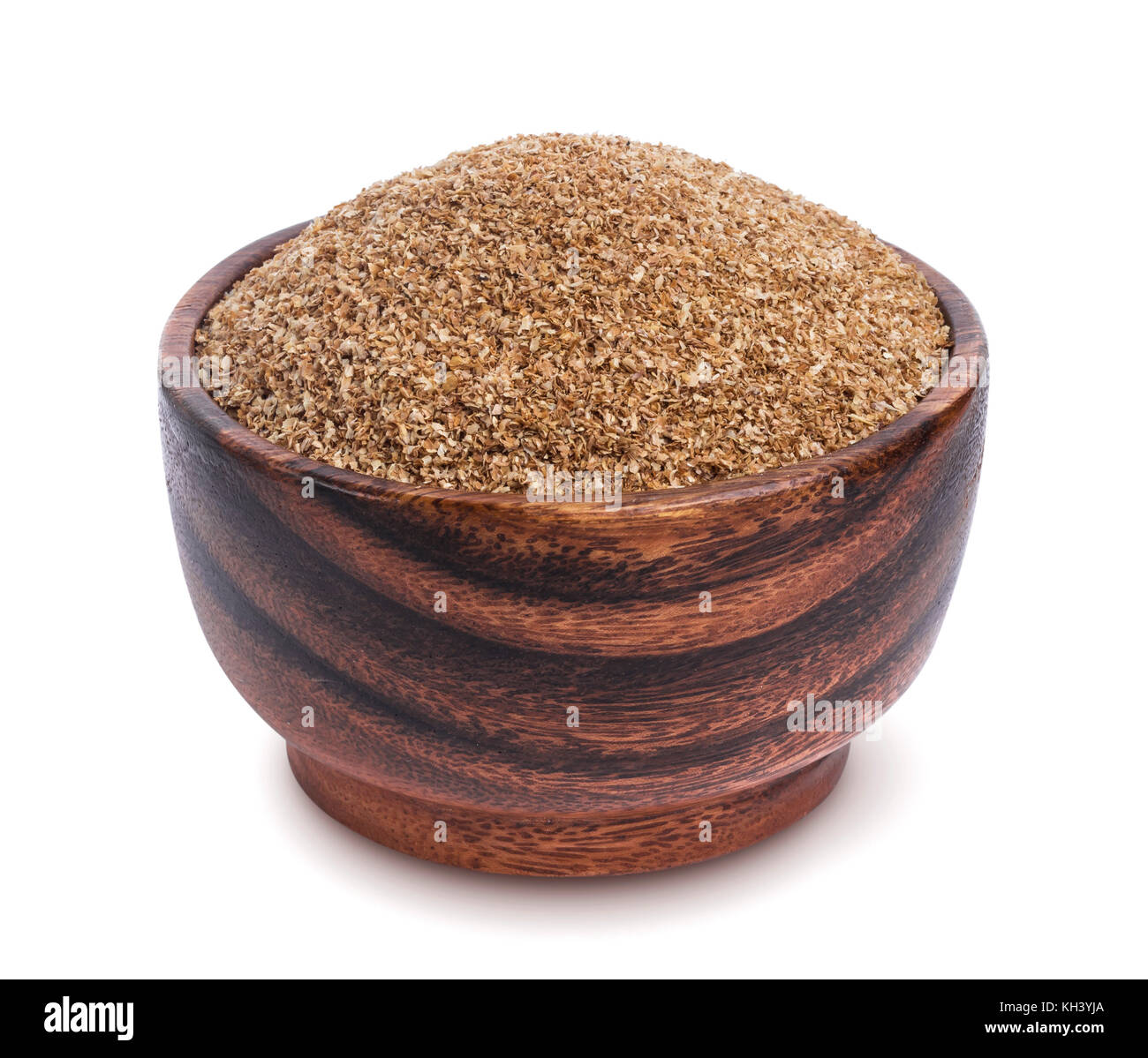 Fiber food. Dry ground fiber in bowl isolated on white background - Stock Image