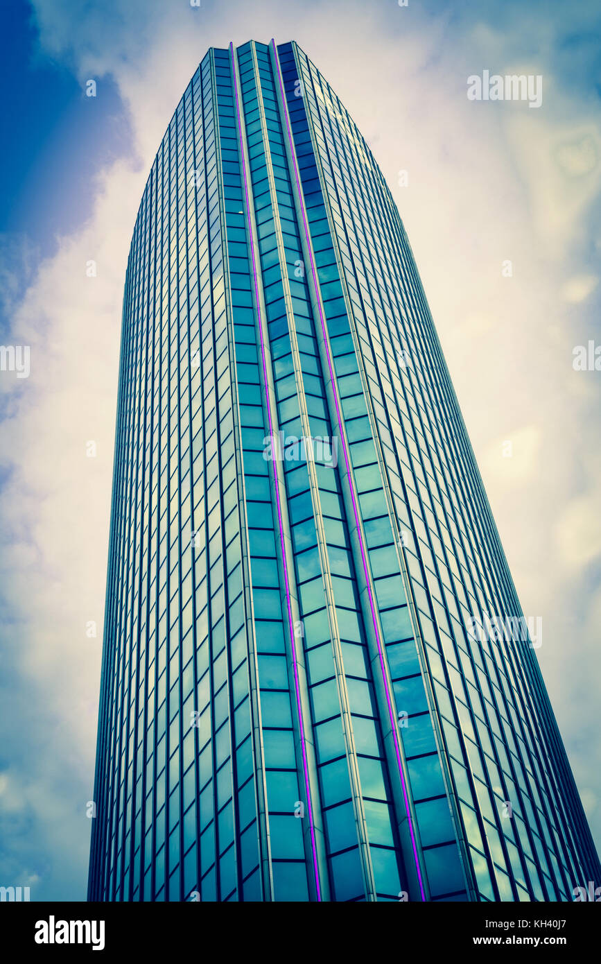 ROTTERDAM, HOLLAND- AUGUST 23, 2017; dramatic Instagram filter effect of lines and height of Modern architectural - Stock Image
