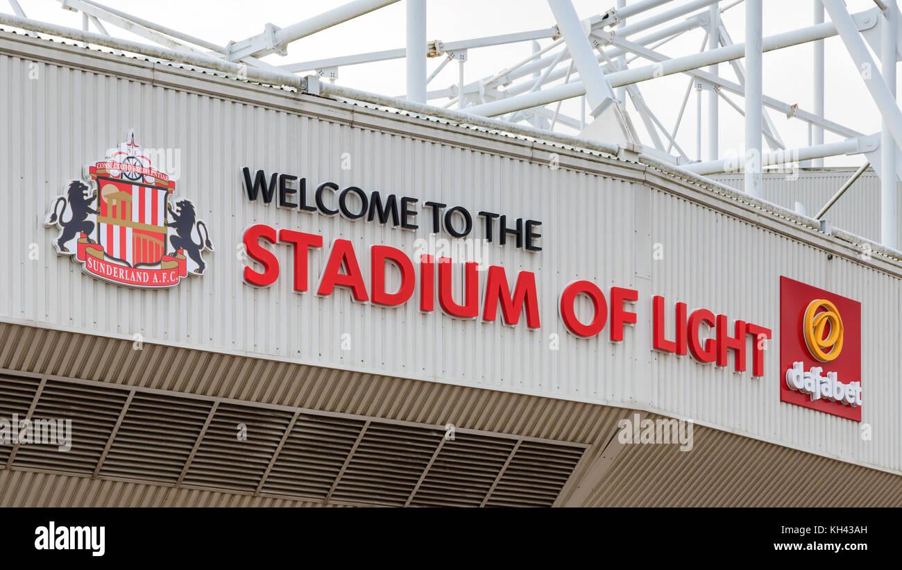 A banner adorns the Stadium of Light, home of Sunderland Football Club in Sunderland, England. - Stock Image