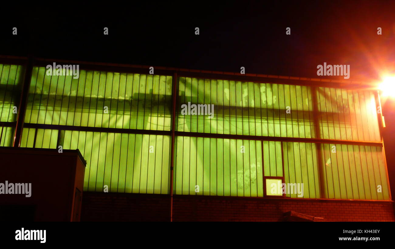 Industrial Architecture with Illumination - Stock Image