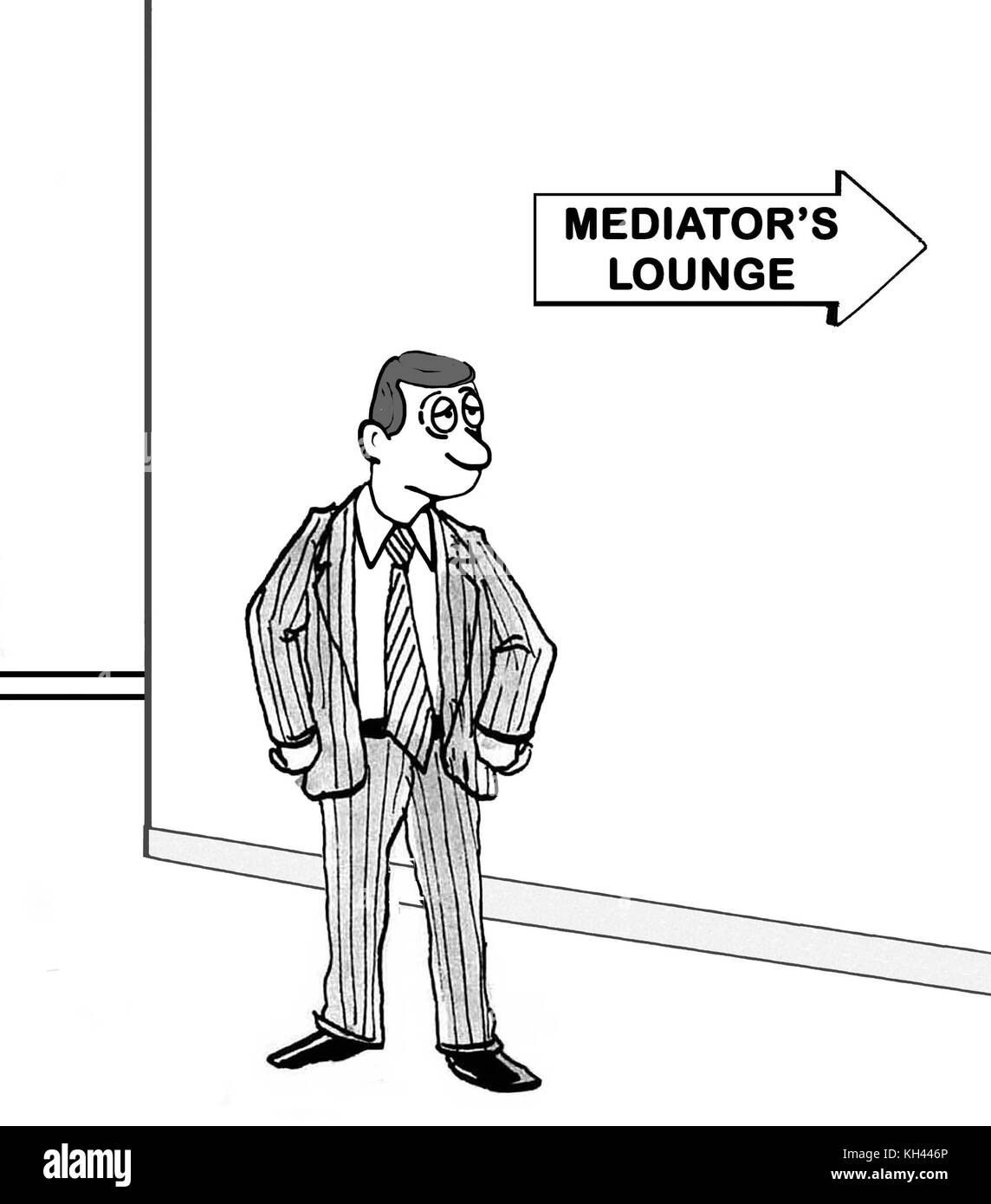 Cartoon showing a tired man headed to the mediator's lounge. Stock Photo