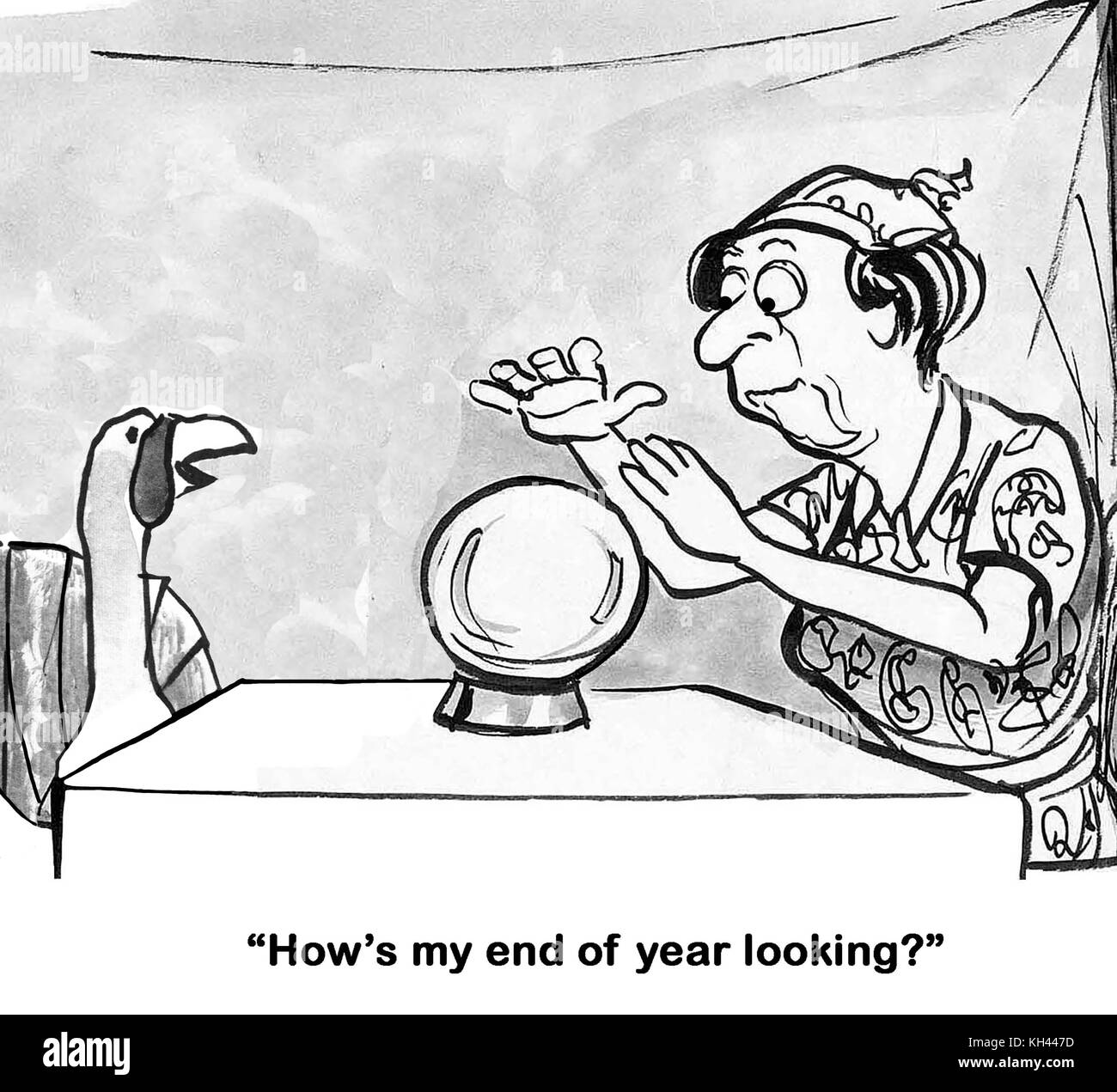 Christmas or Thanksgiving cartoon about a turkey asking a fortune teller how his year-end is looking. - Stock Image