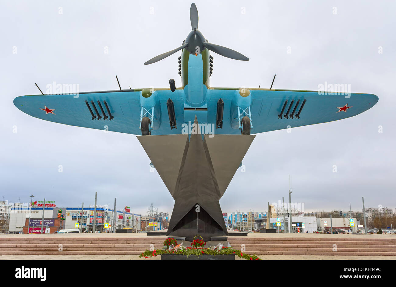 "Samara, Russia - November 12, 2017: Monument to low-flying attack airplane ""Ilyushin 2"" of the Second World War Stock Photo"