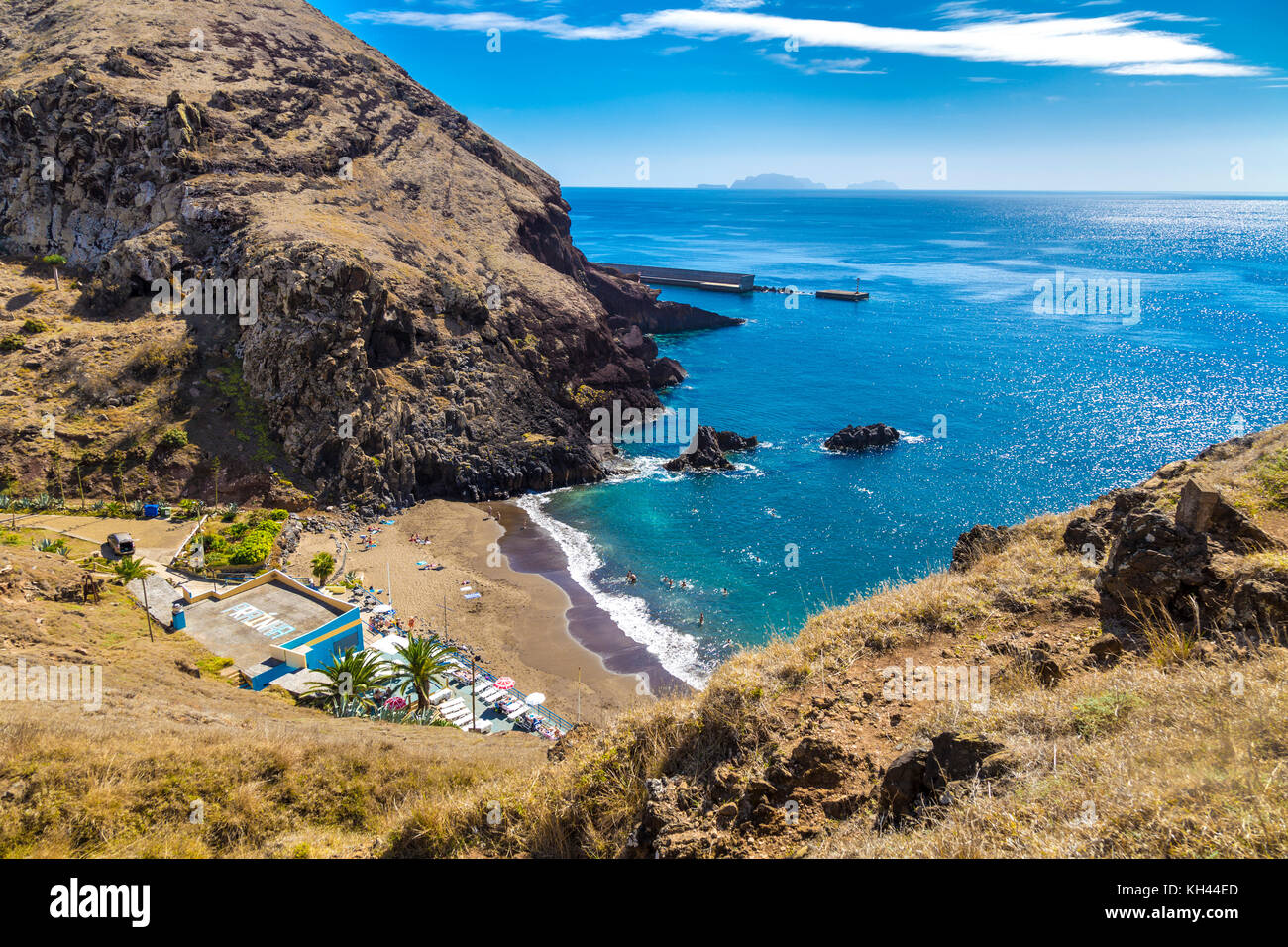 Prainha Beach tucked away between cliffs - the only sandy beach in Madeira, Portugal - Stock Image