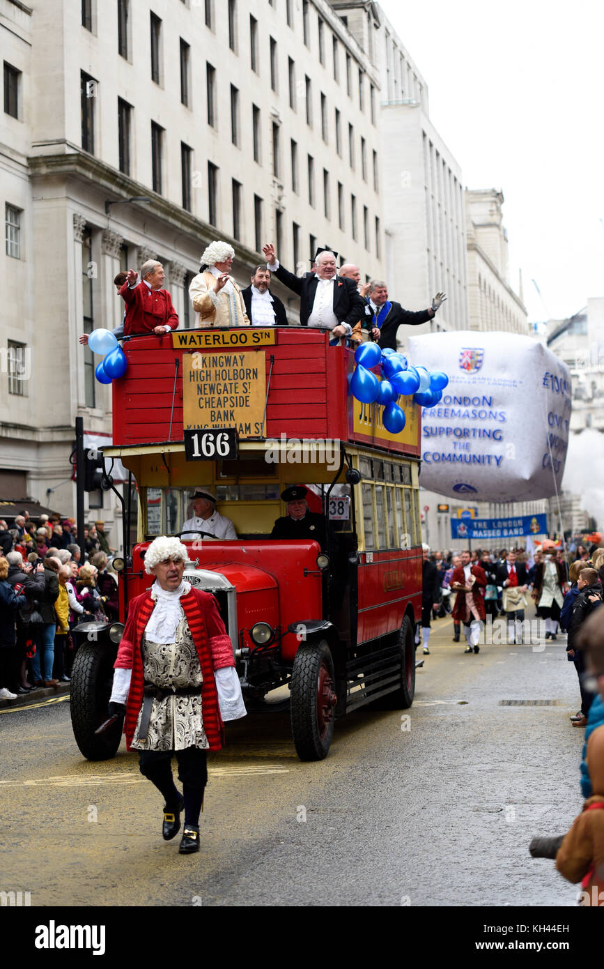 Metropolitan Grand Lodge of London Freemasons at the Lord Mayor's Show Procession Parade along Cheapside, London. - Stock Image