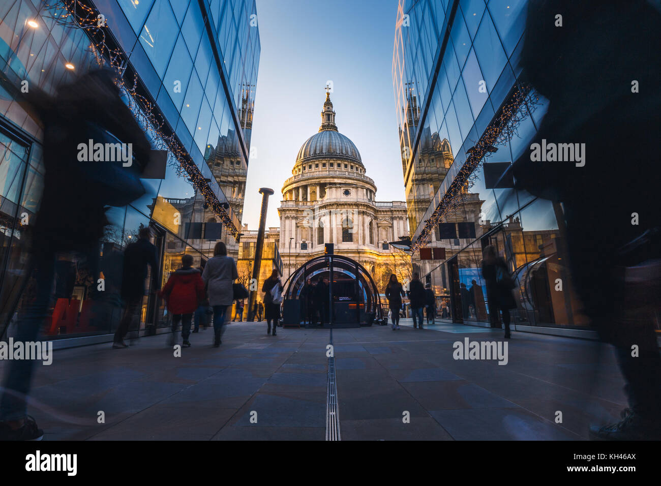 View of St. Paul's Cathedral from One New Change Mall, London, England, UK - Stock Image