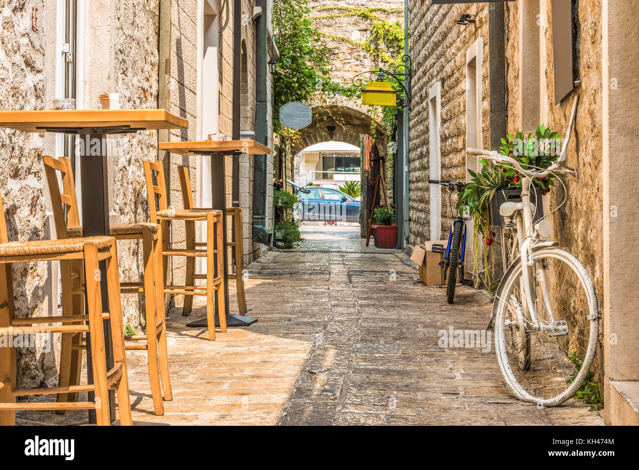 Old Town Budva, Montenegro. The first mention of this city - more than 26 centuries ago. We see ancient houses, - Stock Image