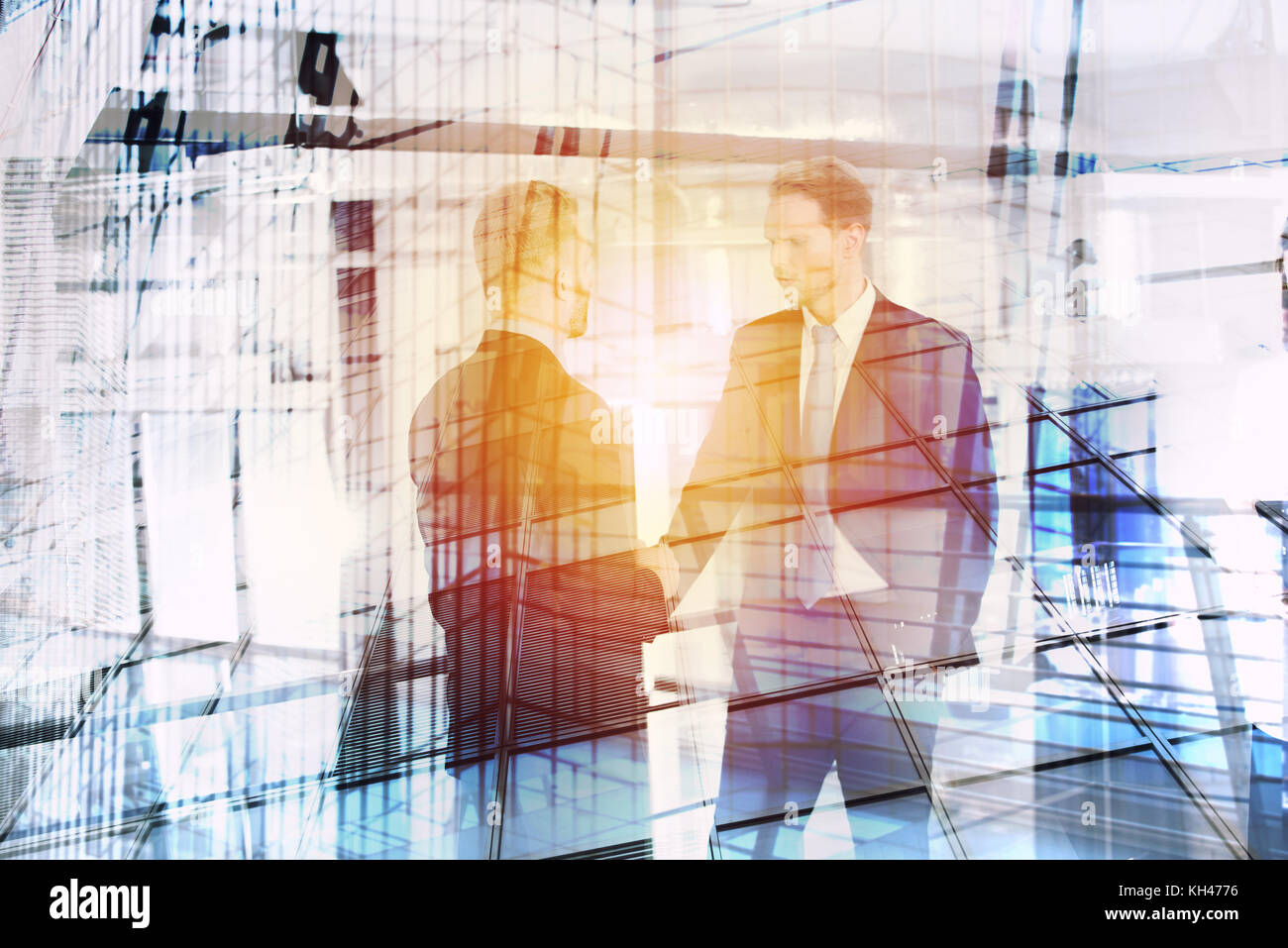 Businessperson that speak in office. double exposure Stock Photo