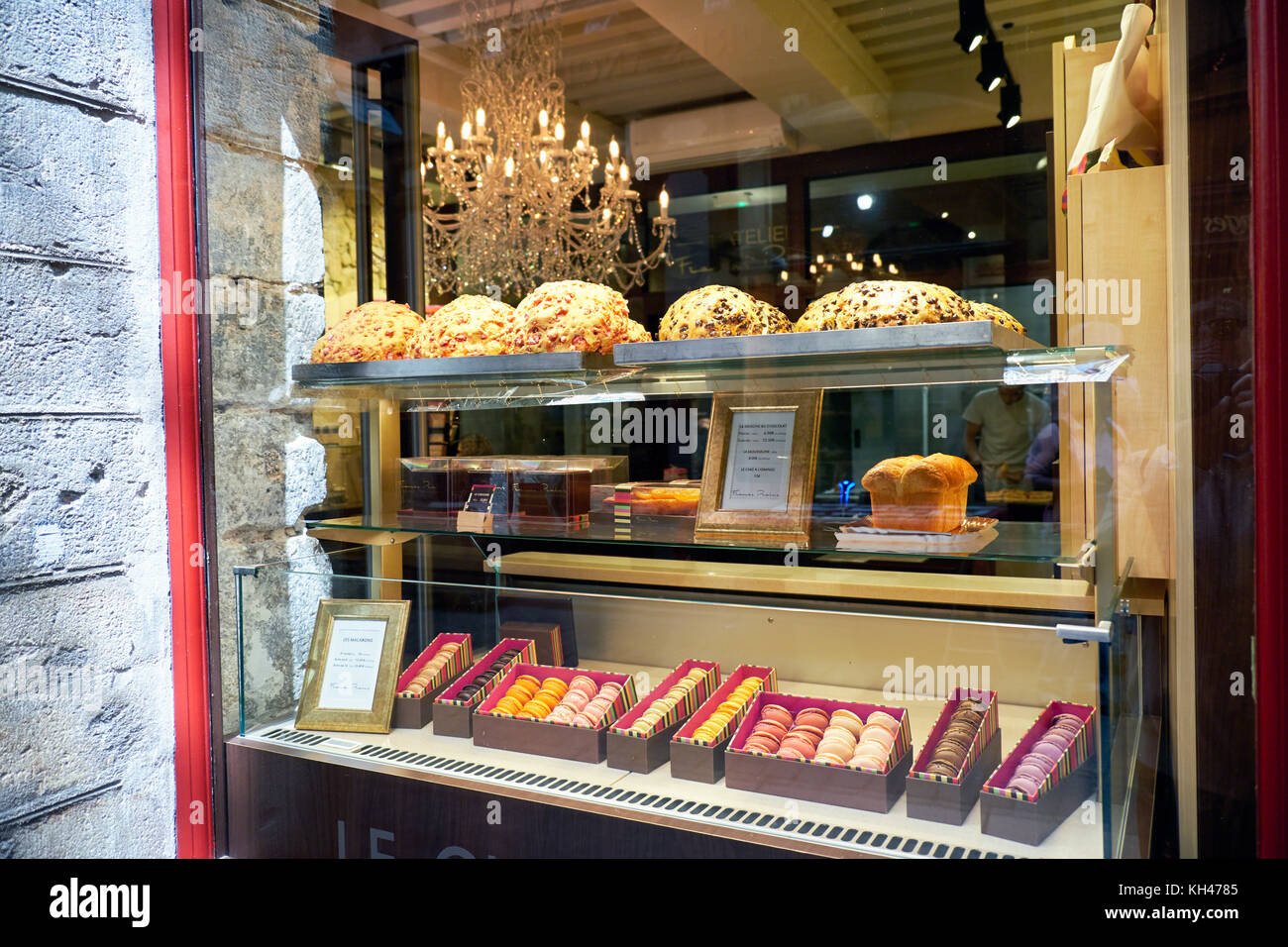 French Pastry Shop Shop Window, Lyon, France - Stock Image