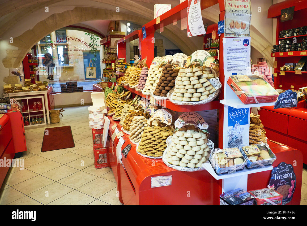 Pastry Shop Interior with Tastefully Arranged Sweets, Lyon, France - Stock Image