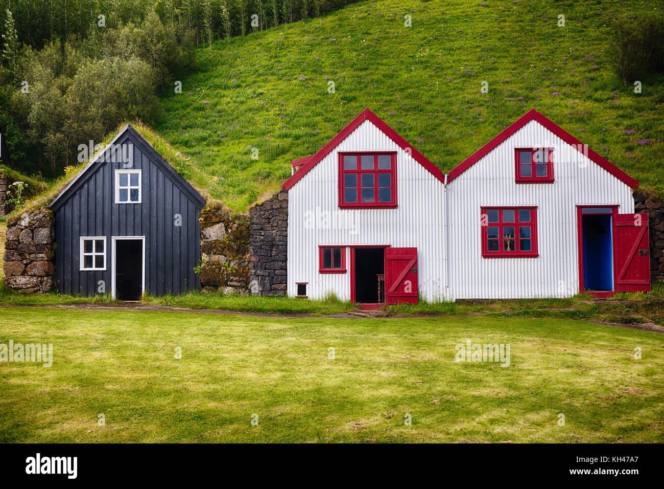 Traditional Icelandic Farmhosuses, Skoga, Southern Iceland - Stock Image