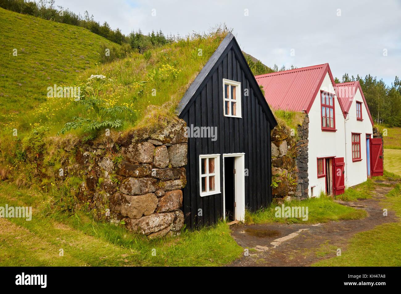 Old  Icelandic Farmhosuses, Skoga, Southern Iceland - Stock Image