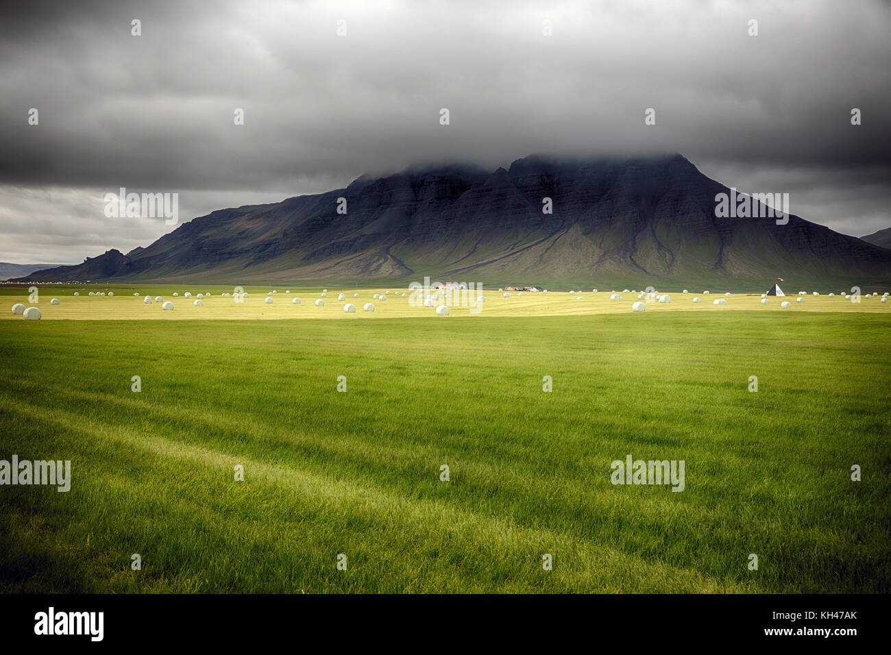 Green Pastures with Hay Bales in the Snaefellsnes Peninsula, Southwestern Iceland - Stock Image