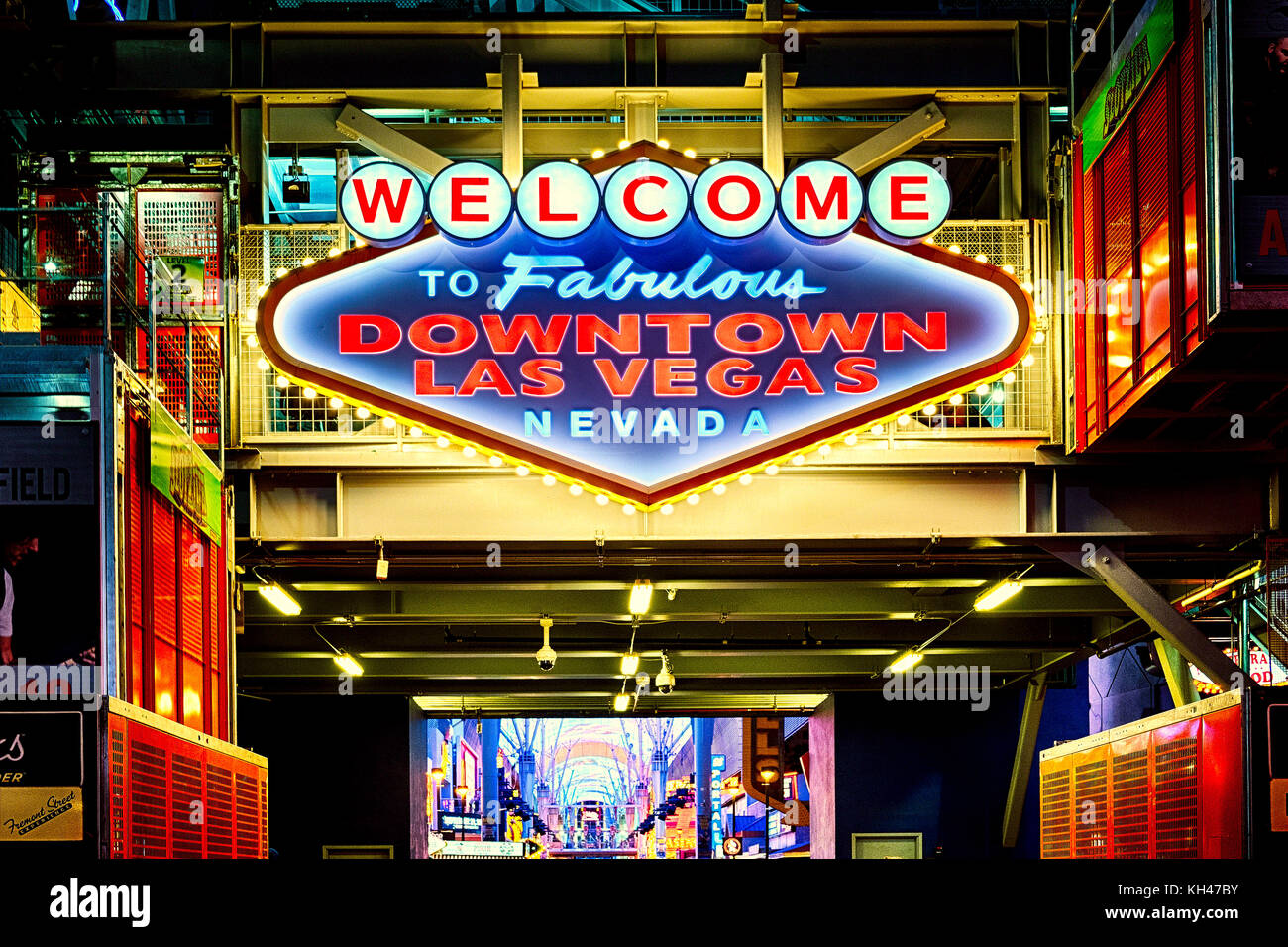Low Angle view of a Neon Sign at Night at the, Fremont Street, Las Vegas, Nevada - Stock Image